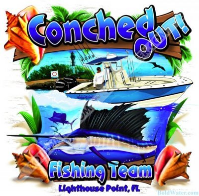 Conched out for Fishing team shirts