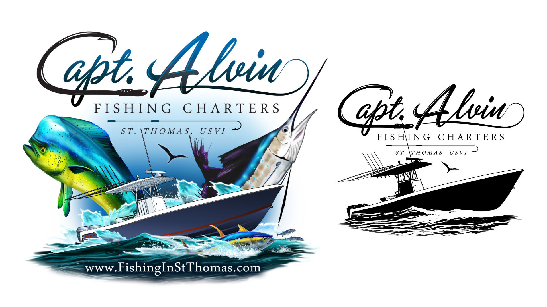 Capt alvin charters st thomas marine logos websites for Fishing team names