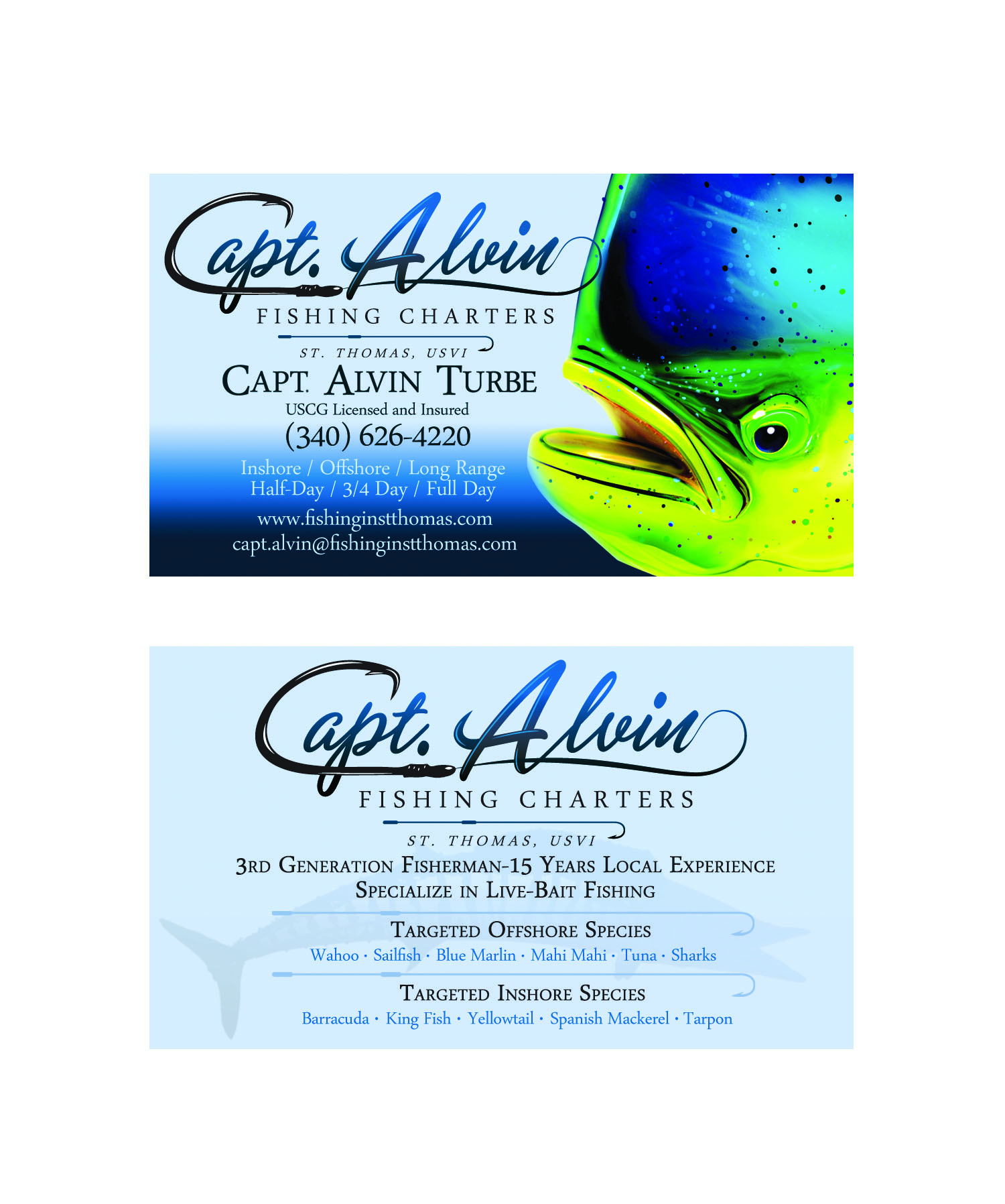 Capt alvin charters st thomas marine logos websites for Fishing business cards